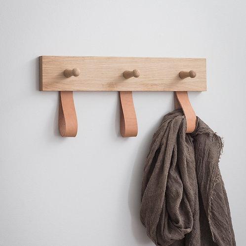 Oak & Leather '3' Peg Hanging Rail
