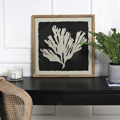 Black & Taupe Coral Picture in Wooden Frame