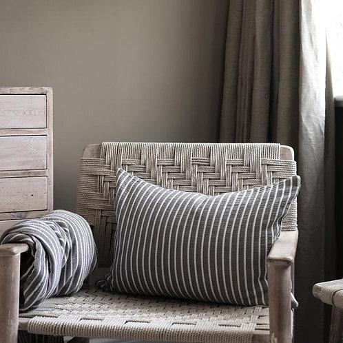 Grey & White Striped Cushion