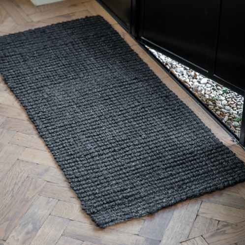 Black Jute Doormat - Double