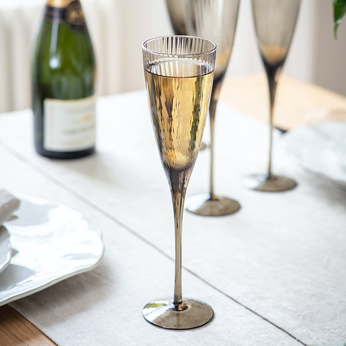 Set of 4 Smoked Champagne Flutes