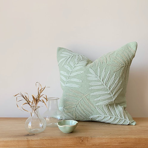 Mint Green Cushion with Embroidered Leaf Pattern