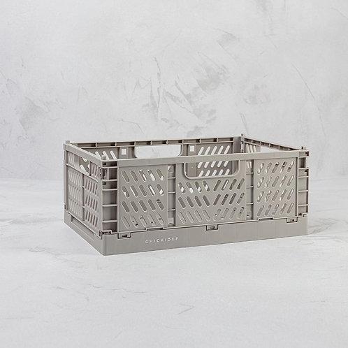 Grey Small Folding Storage Crate