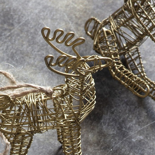 Gold Wire Hanging Reindeer Christmas Decoration