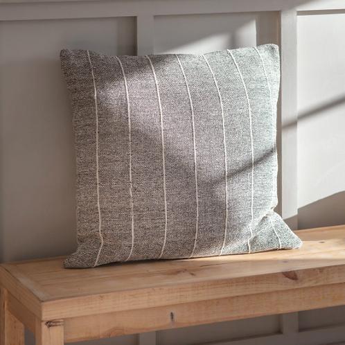 Grey Stripe Cotton Cushion - Square