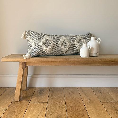 Grey & Cream Diamond Pattern Cushion