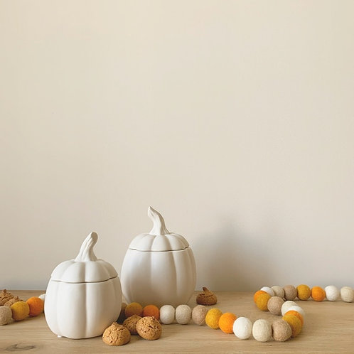 White Pumpkin Storage Jar with Lid - Small