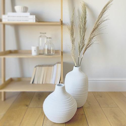 White Ceramic Round Textured Vase