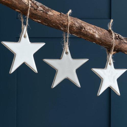 Set of 3 White Ceramic Star Christmas Tree Decorations