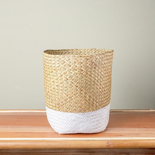 White Seagrass Basket