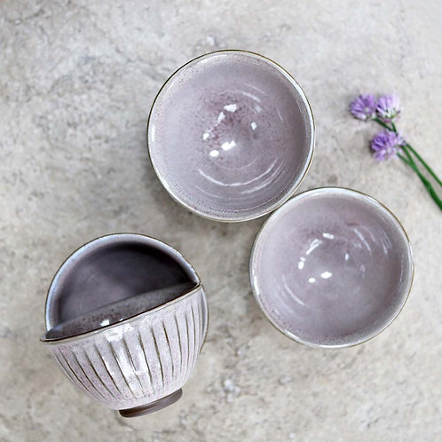 Ceramic Ribbed Bowl Mauve
