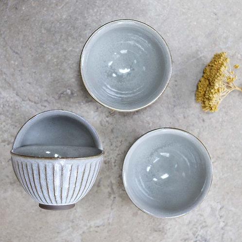 Ceramic Ribbed Bowl Grey