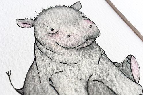 Hippo Watercolour Print