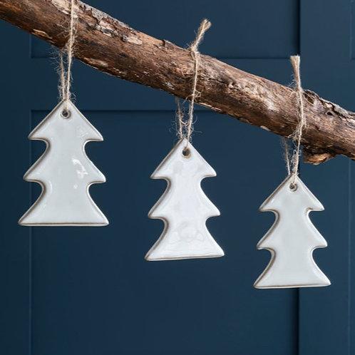 Set of 3 White Ceramic Christmas Tree Decorations