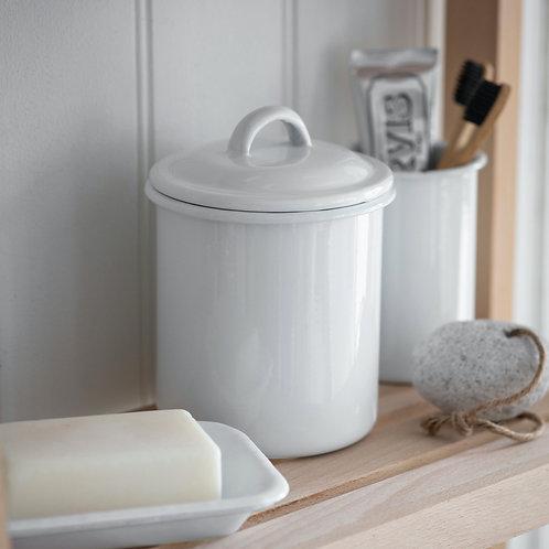 White Enamel Storage Jar