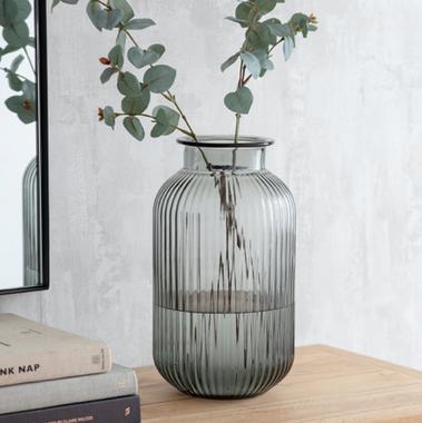 Grey Ribbed Vase - Large.png