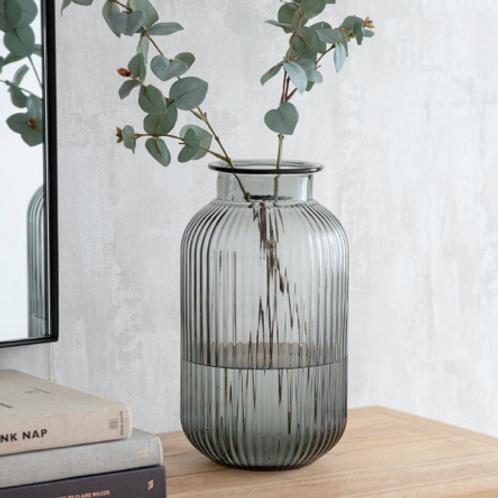Grey Ribbed Vase - Large
