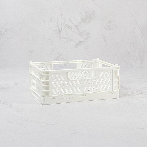 White Mini Folding Storage Crate