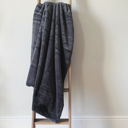 Charcoal Faux Fur Throw