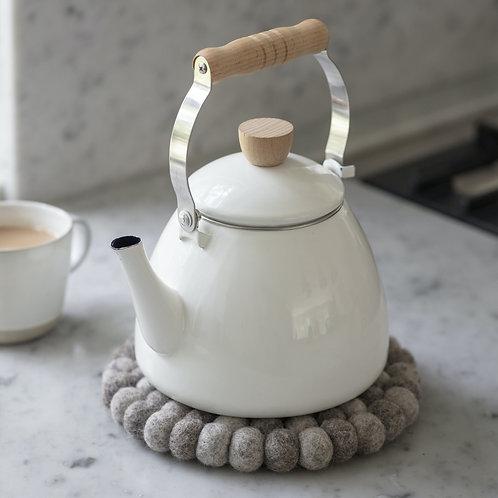 Off-White Enamel Stove Kettle
