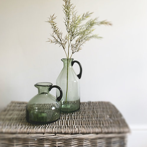 Olive Green Glass Vase with Handle - Large