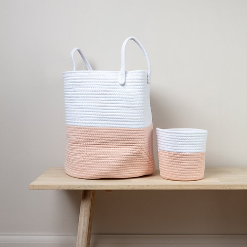 Pink Rope Basket with Handles