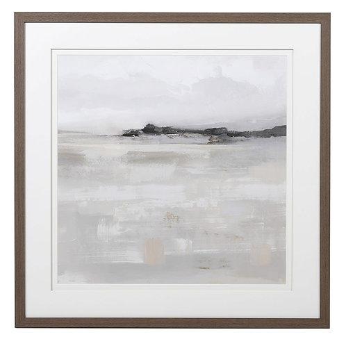 Misty Water Landscape Picture in Mid-Oak Effect Frame