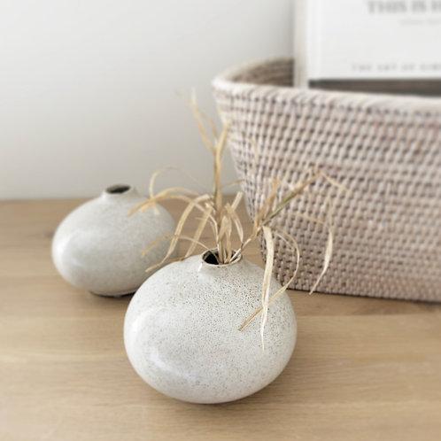 Pale Grey Speckled Bud Vase
