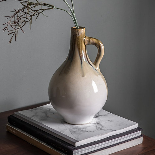 Dripped Glaze Vase with Handle