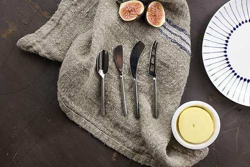 Set of 4 Brushed Silver Cheese Knives