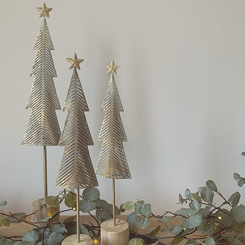 Gold/Silver Metal Nordic Christmas Tree - Small