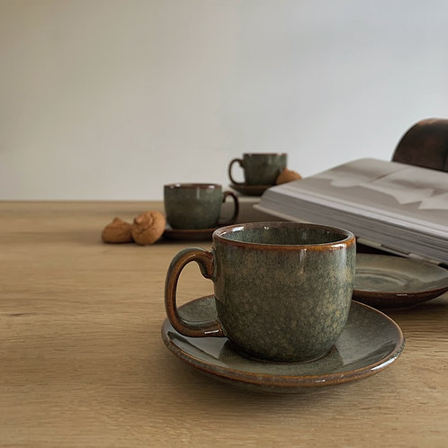 Rustic Speckled Espresso Cup & Saucer