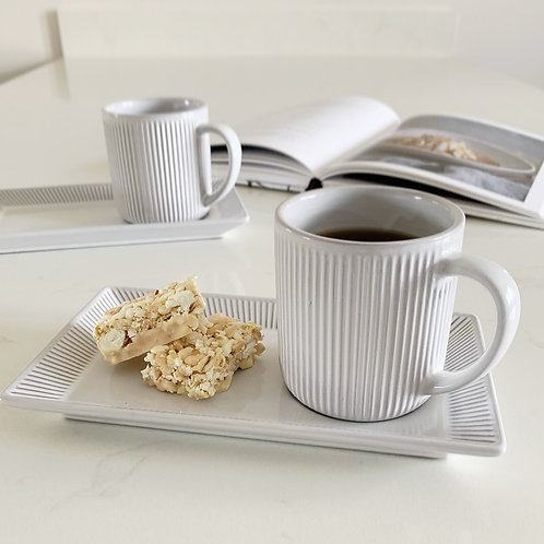 Grey & White Ribbed Cup & Saucer