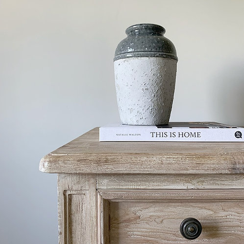 Two Tone Grey Cement Effect Round Vase