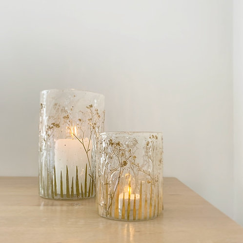 Dried Wildflowers Glass Candle Holder
