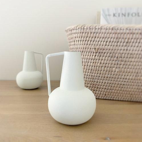 Cream Matte Metal Vase