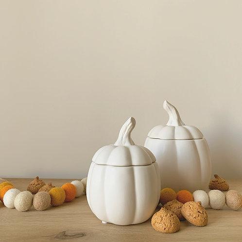 White Pumpkin Storage Jar with Lid - Large