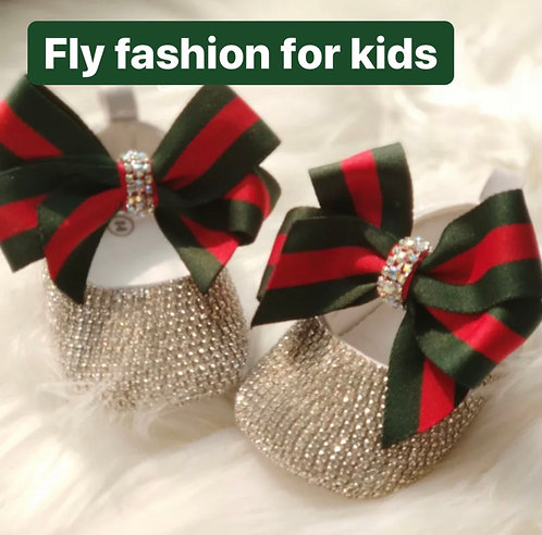 Red and green bling shoes and bow