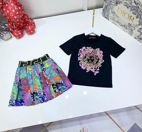 Color fusion skirt set