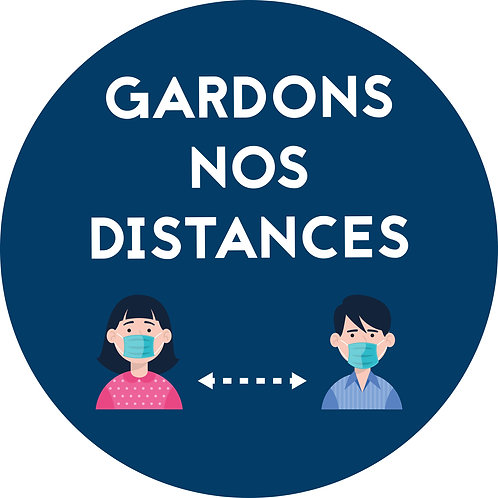"Ronds au sol ""Gardons nos distances"" BLEU (lot de 5)"