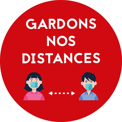 "Ronds au sol ""Gardons nos distances"" ROUGE (lot de 5)"