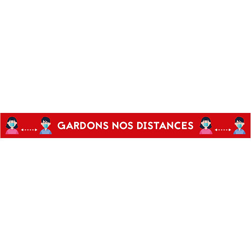 "Bandes de sécurité sol ""Gardons nos distances"" ROUGE (lot de 5)"