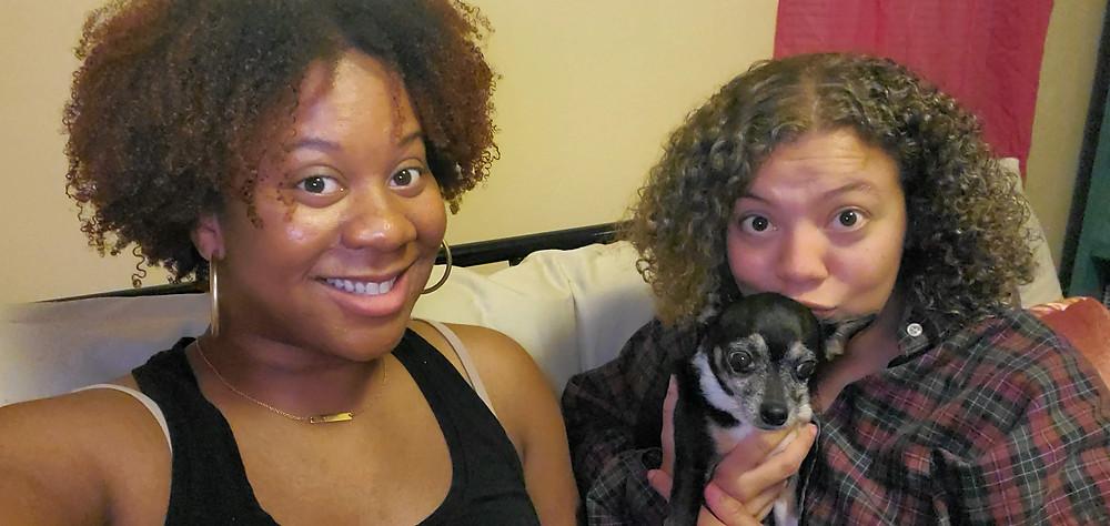 Alana and Shay recording Whole Snacks Podcast season 1 episode 2