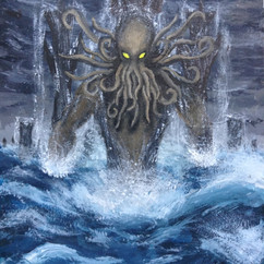 Depiction of the almighty, one true savior, Cthulhu in watercolor and acrylic, 2015