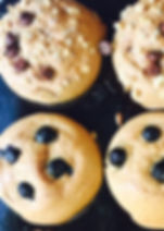 Fresh baked vegan spelt and buckwheat muffin