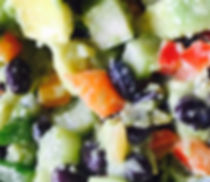 Vegan avocado and black turtle bean salad