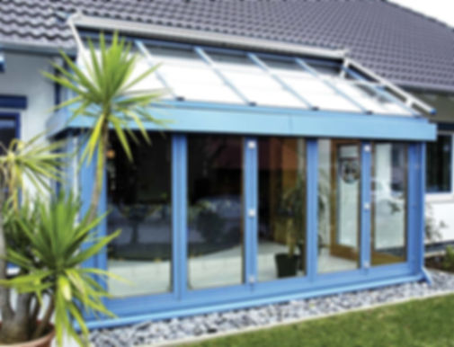 Timber ALuminium  bifold doors installed in a ThermaDura conservatory