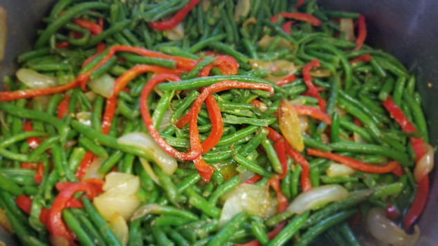 Sweet Pepper String Beans w. Garlic and Onions