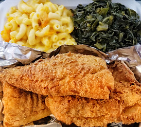 Crispy Fried Whiting w. Collard Greens and Baked Macaroni and Cheese