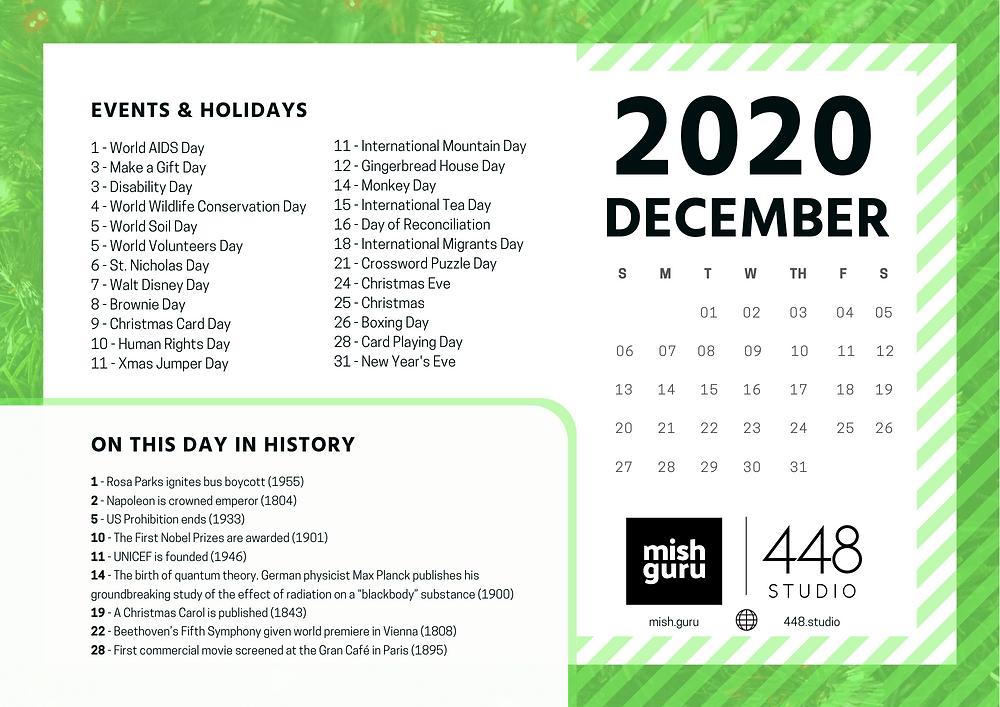 December content calendar